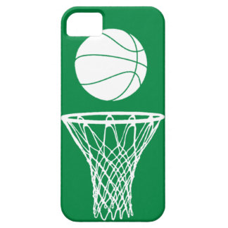 iPhone 5 Basketball Silhouette White on Green iPhone 5 Cases