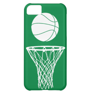 iPhone 5 Basketball Silhouette White on Green iPhone 5C Case