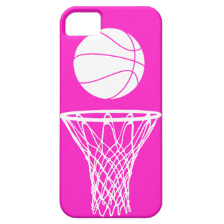 iPhone 5 Basketball Silhouette White on Pink Case For The iPhone 5