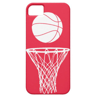 iPhone 5 Basketball Silhouette White on Red iPhone 5 Covers