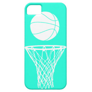 iPhone 5 Basketball Silhouette White on Turquoise iPhone 5 Cases