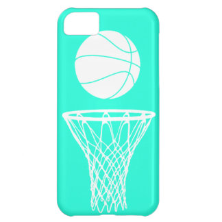iPhone 5 Basketball Silhouette White on Turquoise iPhone 5C Case