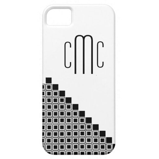 IPhone 5 Black & White Squares Monogrammed Case Cover For iPhone 5/5S