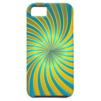 iPhone 5 Case blue and yellow spiral vortex