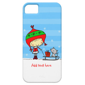 ♥ iPHONE 5 CASE ♥ cute girl cat snow christmas