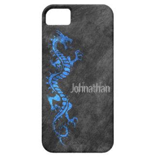 iPhone 5 Case - Grunge Dragon on Black (blue)