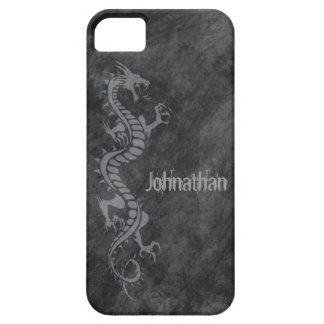 iPhone 5 Case - Grunge Dragon on Black (grey)