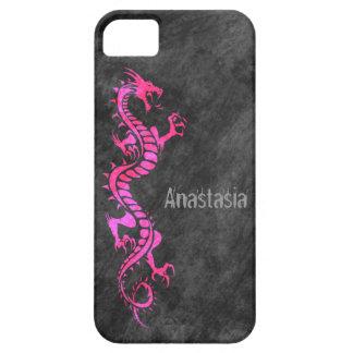 iPhone 5 Case - Grunge Dragon on Black (pink)