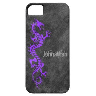 iPhone 5 Case - Grunge Dragon on Black (purple)