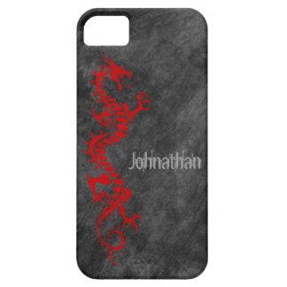 iPhone 5 Case - Grunge Dragon on Black (red)