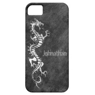 iPhone 5 Case - Grunge Dragon on Black (white)