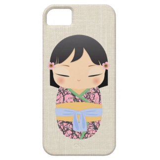 iPhone 5 case - Kokeshi Doll mustard and lilac