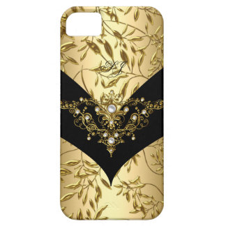 iPhone 5 Case-Mate Cream Gold Damask Black