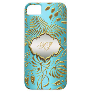 iPhone 5 Case-Mate Teal Gold Damask