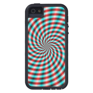 iPhone 5 Case  Turquoise and Red Spiral Rays