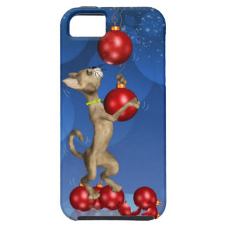 iPhone 5 case with fun holiday cat swinging