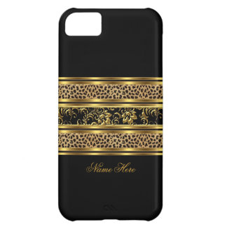 iPhone 5 Elegant Classy Gold Black Leopard Floral iPhone 5C Case