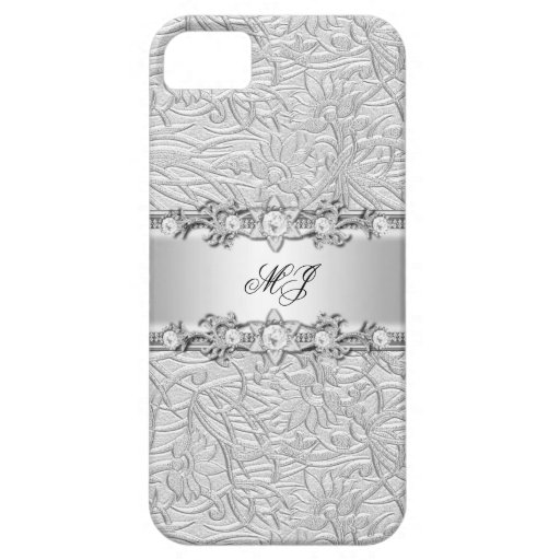 iPhone 5 Elegant Classy Silver White iPhone 5 Covers
