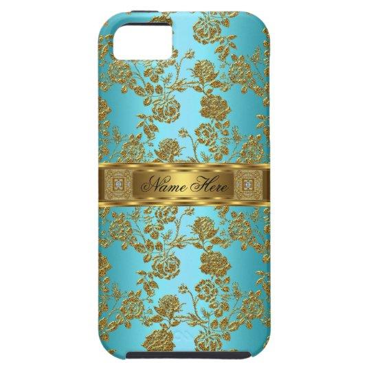 iPhone 5 Elegant Classy Teal Gold Damask Floral