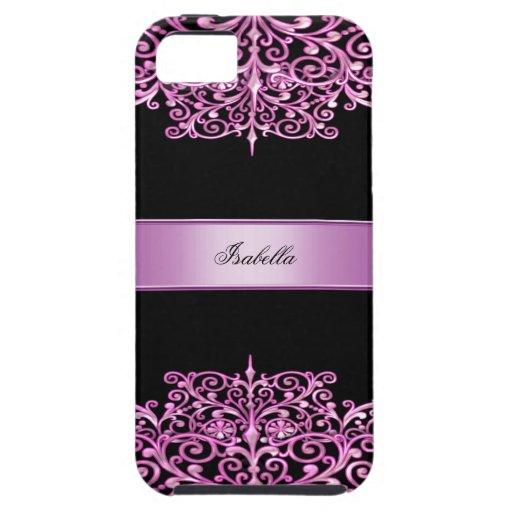 iPhone 5 Elegant Ornate Pink Black Damask Floral iPhone 5 Cover