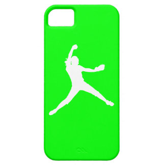 iPhone 5 Fastpitch Silhouette White on Green Case For The iPhone 5