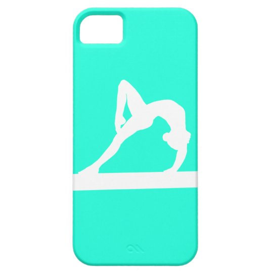 iPhone 5 Gymnast Silhouette White on Turquoise iPhone