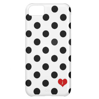 Iphone 5 Polka Dot Black & White Dotted Heart Case