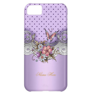 iPhone 5 Pretty Purple Pink Silver White Butterfly iPhone 5C Case