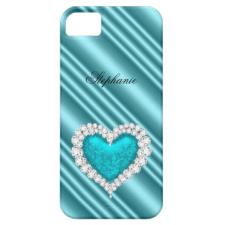 iPhone 5 Princess Silver Teal Bejeweled Barely There iPhone 5 Case