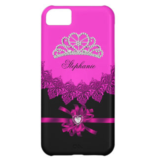 iPhone 5 Princess Silver Tiara Pink Bejeweled iPhone 5C Case