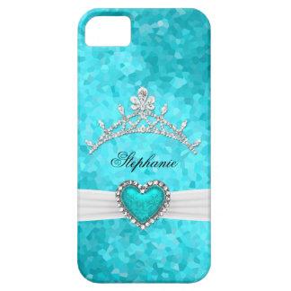 iPhone 5 Princess Silver Tiara Teal Bejeweled iPhone 5 Cover