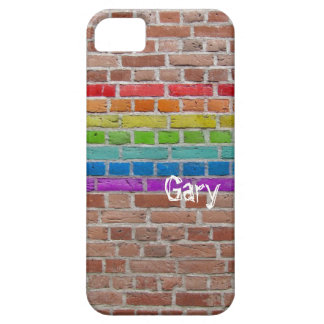 iPhone 5 Rainbow Wall with name Barely There iPhone 5 Case