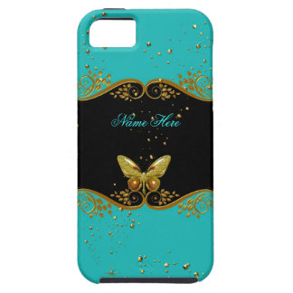 iPhone 5 Teal Blue Gold Black White Butterfly iPhone 5 Cases