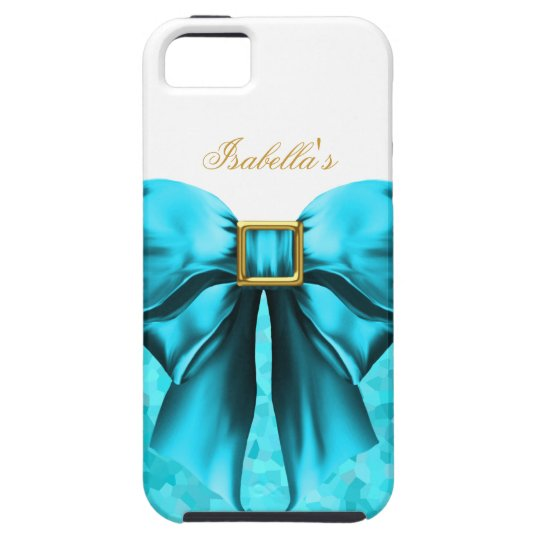 iPhone 5 Teal Blue Gold White Bow Image iPhone 5 Covers