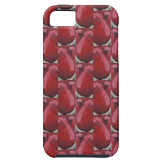 iPhone 5 tough case with special red tulip pattern