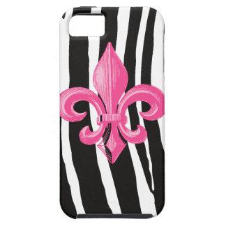 iPhone 5 Tough - Zebra w/ Hot Pink Fleur de Lis Tough iPhone 5 Case