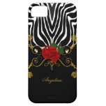 iPhone 5 Zebra Abstract Roses Red Black White Gold Case For The iPhone 5