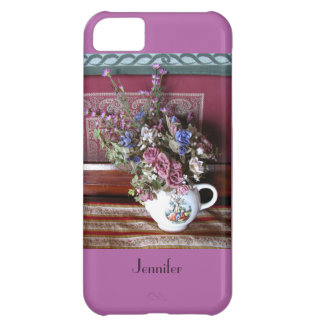iPhone 5c Case Teapot with Flowers, Purple, Orchid