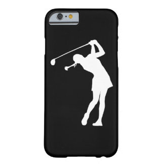 iPhone 6 case Lady Golfer Silhouette White on Blac Barely There iPhone 6 Case