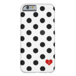 iPhone 6 case Polka Dot Black & White Dotted Heart Barely There iPhone 6 Case