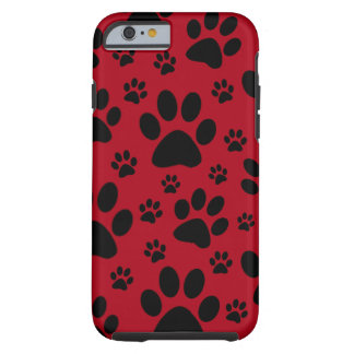 iPhone 6 case, Red, pet animal paw prints, dog cat Tough iPhone 6 Case