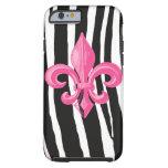 iPhone 6 case Tough - Zebra w/ Hot Pink Fleur de L Tough iPhone 6 Case