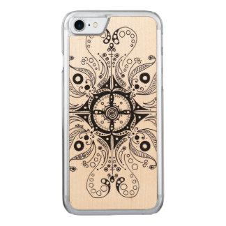 iPhone 6 Slim Maple Wood with Henna Design Carved iPhone 8/7 Case