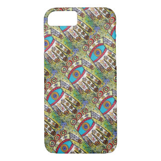 iPhone 7 Batik Ivory Flower Hamsa cell II iPhone 7 Case