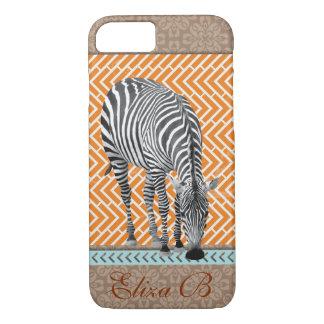 iPhone 7 Case Africa Zebra Monogram Blue Chevrons