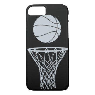 iPhone 7 case Basketball Silhouette Silver on Blac