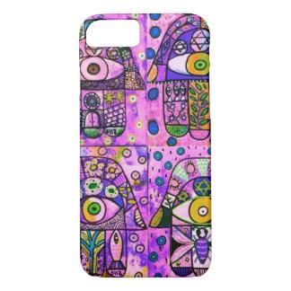 iPhone 7 case BubbleGum Pink Hamsa cell