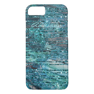 Iphone 7 Case Green Marble With Green Lines