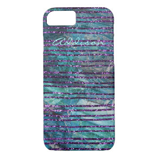 Iphone 7 Case Green Marble With Purple Lines