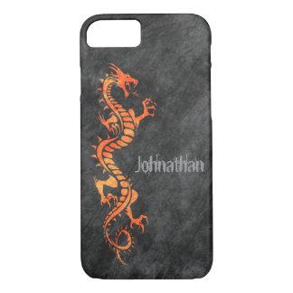 iPhone 7 case - Grunge Dragon on Black (orange)